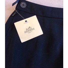 Hermès-Skirts-Navy blue