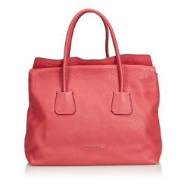 Burberry-Leather Tote Bag-Pink