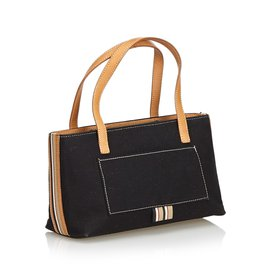 Burberry-Canvas Tote Bag-Brown,Black,Light brown