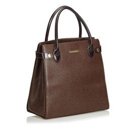 Burberry-Leather Handbag-Brown,Dark brown