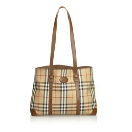 Burberry-Plaid Canvas Tote Bag-Brown,Multiple colors,Beige