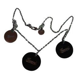 Gucci-Collier vintage Gucci en argent et bois-Argenté,Marron foncé
