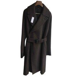 Hermès-Sublime coat Hermès Couture alpaca wool cashmere leather NEW-Taupe