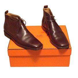 Hermès-Ankle Boots-Dark brown