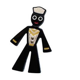 Prada-Broche soldat Prada en cuir et boullite-Noir
