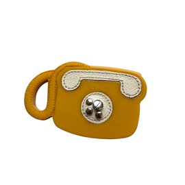 Prada-Prada Leather & Bakerlite Plex Phone brooch-Yellow