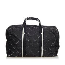 Chanel-Old Travel Line Travel Bag-Black,White,Cream