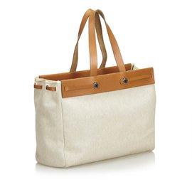Hermès-Herbag Cabas MM-Brown,White,Beige,Cream