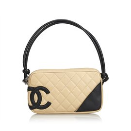 Chanel-Cambon Ligne Pochette-Noir,Blanc,Écru