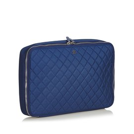 Chanel-Matelasse Laptop Bag-Blue,Navy blue