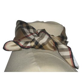 Burberry-Burberry newsboy scarf 45x45  classic check gold-Beige