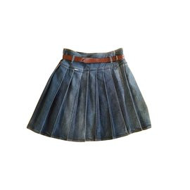 Burberry-kilt denim skirt BURBERRY 36-38-Navy blue
