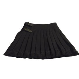 Burberry-Black Burberry skirt 100% wool wallet kilt-Black