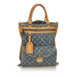 Louis Vuitton-Monogram Denim Sac Plat-Marron,Bleu,Beige ... 93599410acc