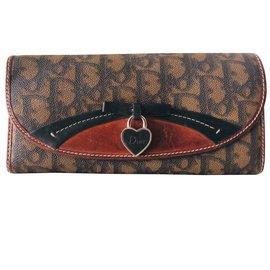 Christian Dior-Portefeuille maroquinerie  Dior grand modèle cuir monogramme-Marron clair,Caramel,Chocolat,Marron foncé