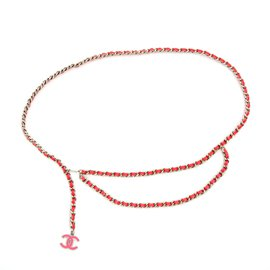 Chanel-SILVER PINK CHAIN 90 NEW-Argenté,Rose