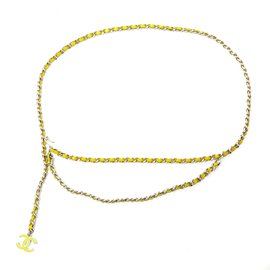 Chanel-SILVER YELLOW CHAIN 85 NEW-Argenté