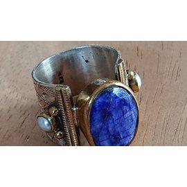 Autre Marque-Lapis lazulli ring-Silvery,Blue