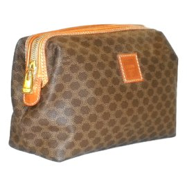 Céline-CELINE vintage brown Macadam toilet bag.-Brown,Orange