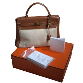 Hermès-Kelly II Barenia Etoile Canvas Linen 32-Brown