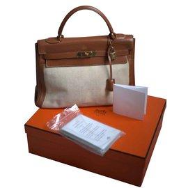 Hermès-Toile de lin Kelly II Barenia Etoile 32-Marron