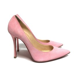 Christian Louboutin-Decoltish 100 mm in Dolly Pink Suede-Pink