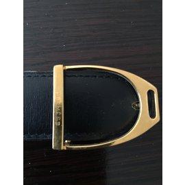 Hermès-couro estribo-Preto