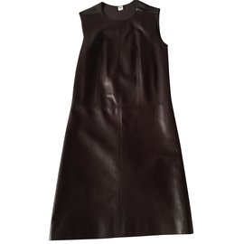 Hermès-Hermes dress in lambskin-Chocolate