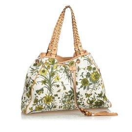 Gucci-Sac cabas en toile Flora-Blanc,Multicolore