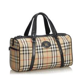 Burberry-Plaid Canvas Boston Bag-Brown,Multiple colors,Beige