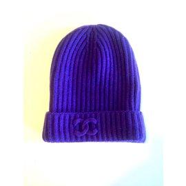Chanel-Bonnet Chanel 100% cachemire-Violet