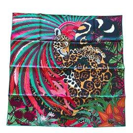 Hermès-Carré Hermès 90 Jaguar Quetzal-Vert ... a885af0be84