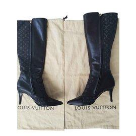 Louis Vuitton-Bottes monogrammes Louis Vuitton-Marron foncé