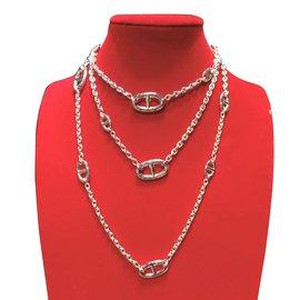 Hermès-Hermes Farandole 160cm long collier-Argenté