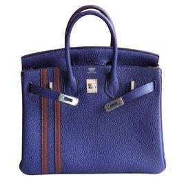Hermès-Hermes L'officier Birkin 25 in Blue Encre-Red,Blue