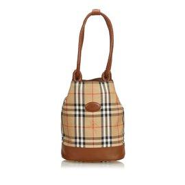 Burberry-Plaid Canvas Shoulder Bag-Brown,Multiple colors,Beige