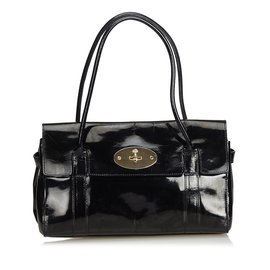 Mulberry-Bayswater Patent Leather Handbag-Black