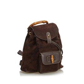 Gucci-Bamboo Suede Drawstring Backpack-Brown,Dark brown