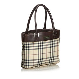 Burberry-Plaid Coated Canvas Handbag-Brown,Multiple colors,Beige
