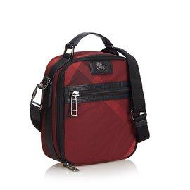 Burberry-Plaid Nylon Crossbody Bag-Black,Red