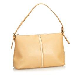 Burberry-Leather Shoulder Bag-Brown,Beige