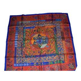 """Hermès-""""Piqué fleurs de Provence""""-Rouge,Bleu,Orange"""