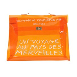 Hermès-Sac de plage Hermès en vinyle avec Kelly-Orange
