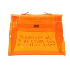 Hermès-Hermès Vinyl Kelly Hand Beach Bag-Orange