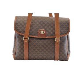 Céline-Céline Macadam Leather Hand Bag-Brown
