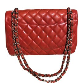 Chanel-Chanel Red Jumbo timeless bag in Lambskin-Red