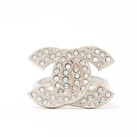 Chanel-LARGE CC SILVER RHINESTONE T52/53-Silvery