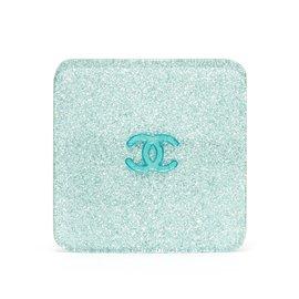 Chanel-BLUE SILVER GLITTER HAIRCLIP-Bleu