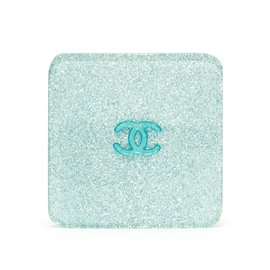 Chanel-BLUE SILVER GLITTER HAIRCLIP-Blue