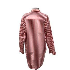 Autre Marque-chemise rayée blanc rouge 100% coton-Blanc,Rouge